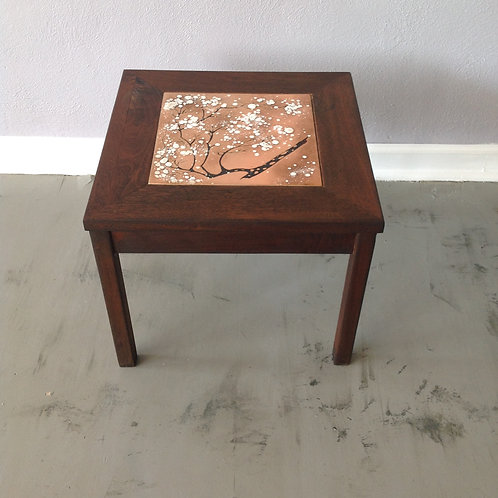 Brown and Saltman Side Table with Enamel Tile Top