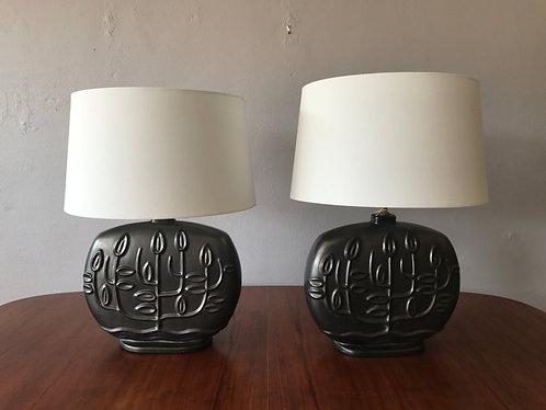 Pair of Mid Century Ceramic Lamps with Leaf Design