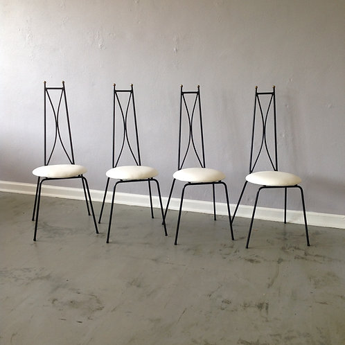 Salterini Style Wrought Iron Cafe Chairs (4)