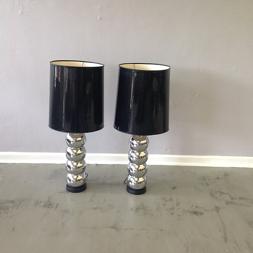 Pair of Mod Stacked Chrome Ball Table Lamps