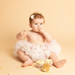 Edinburgh Baby Family Photographer Cake Smash First Birthday Happy Girl Lothians Fife Scotland Diana Baker Photography