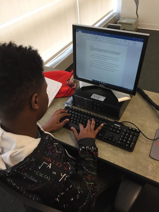 Student at Essay Workshop