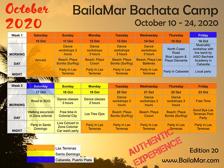 2020 October bachata camp in Dominican Republic