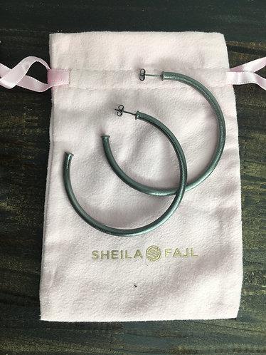 Sheila Fajl Brushed Gunmetal Hoops