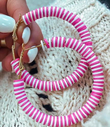 Pink & White Hoops