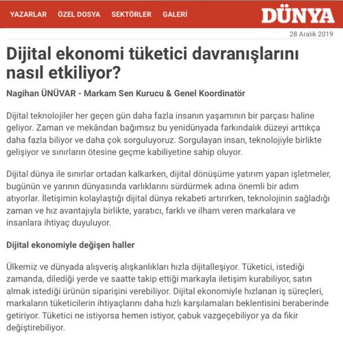 Dijital Ekonomi Tüketici Davranışlarını Nasıl Etkiliyor? Köşe yazımız Dünya Gazetesi 28 Aralık 2019