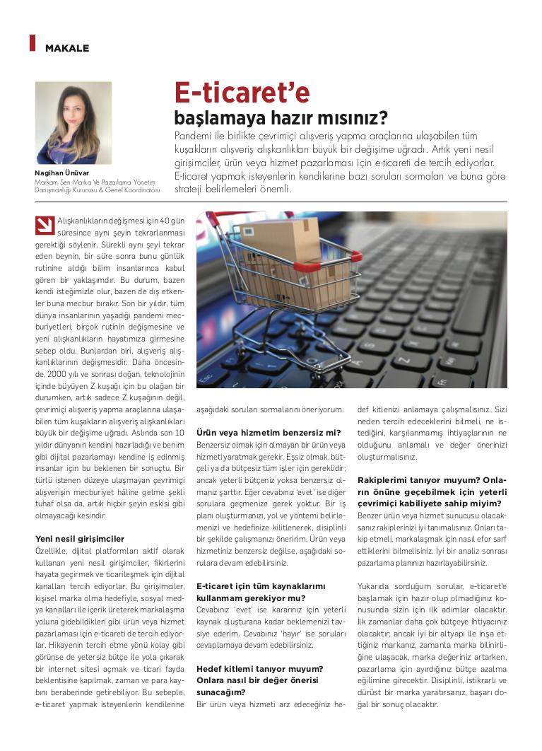 E-Ticaret'e Başlamaya Hazır mısınız? - Kobi Aktüel - Nisan 2021