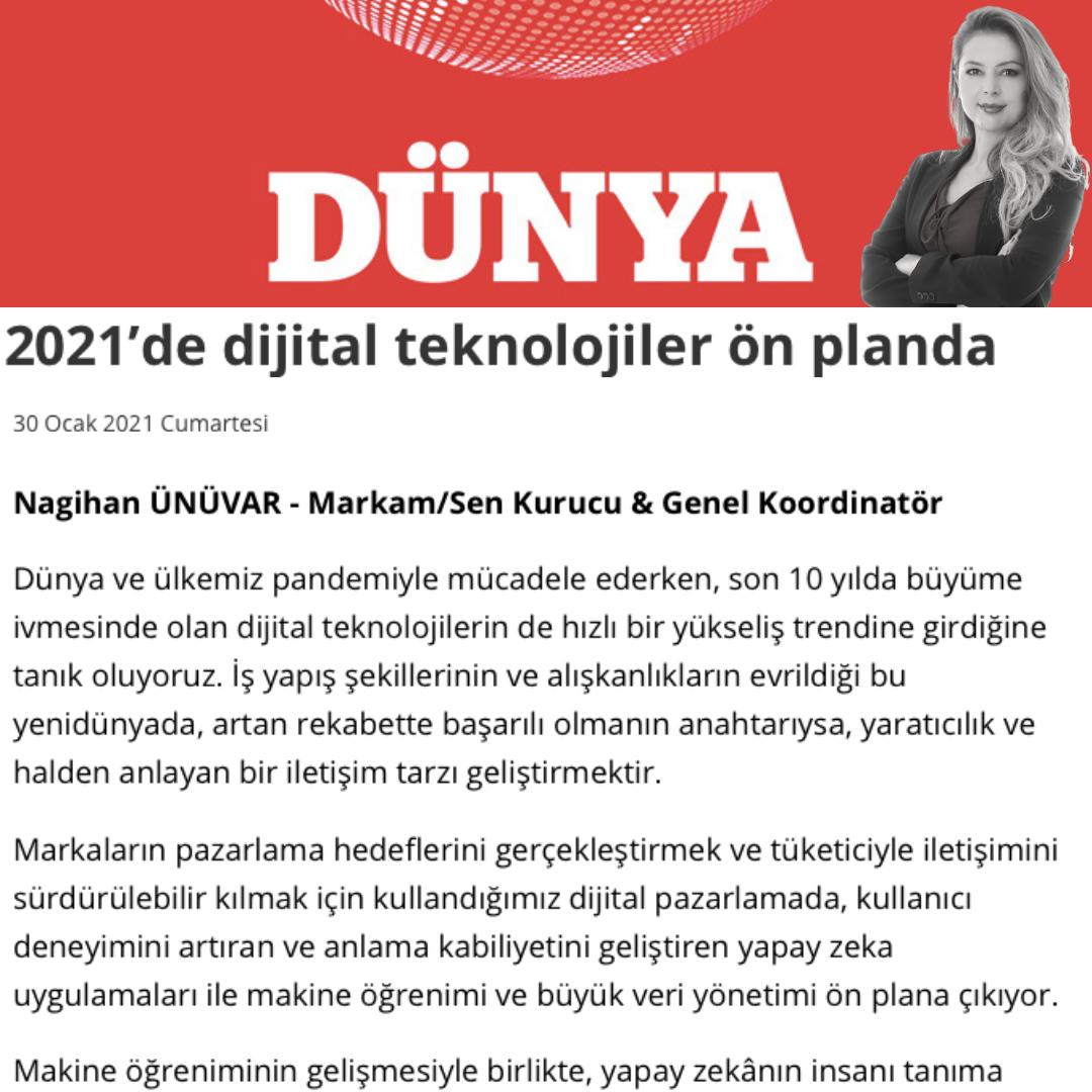 2021'de Dijital Teknolojiler Ön Planda - Dünya Gazetesi - 30 Ocak 2021