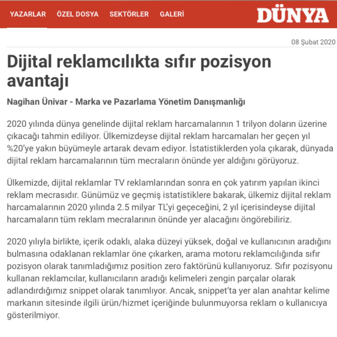 Dijital Reklamcılıkta Sıfır Pozisyon Avantajı - Dünya Gazetesi Köşe Yazımız - 08 Şubat 2020