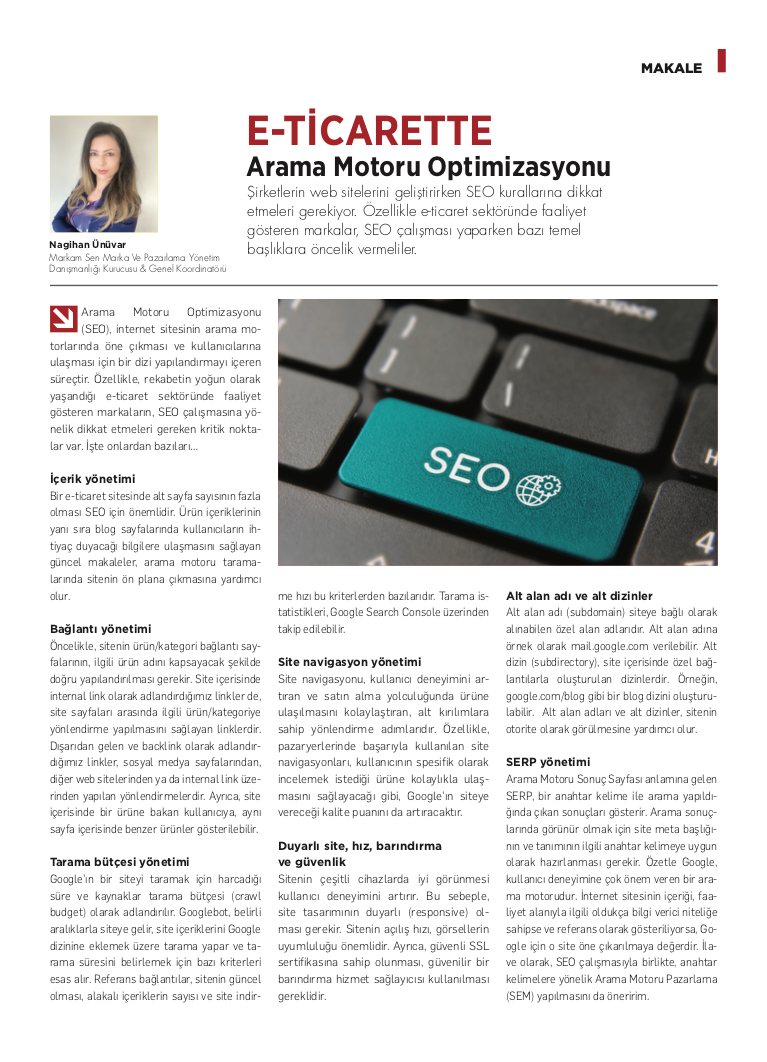 E-Ticarette Arama Motoru Optimizasyonu - Kobi Aktüel - Şubat 2021