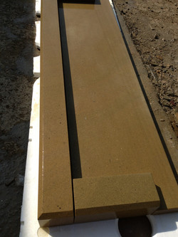 Natural stone fireplace fender heart
