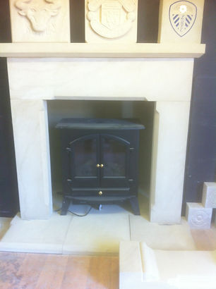 Natural Yorkstone fireplace