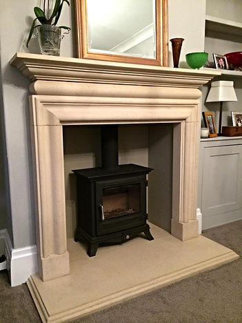 Hand carved Lincolnshire Limestone fireplace surround