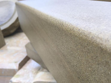 Pencil edge detail to Yorkstone hearth