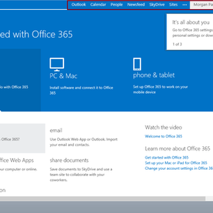 Office 365 Trial Account Example - Part 2 ' Office 365 Menu'