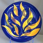 Nan Phillips Dichroic Fused Glass Jewish Ritual Passover Seder Plate and Matzah or Matzo Plate Judaica
