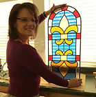 Nan Phillips stained glass class student