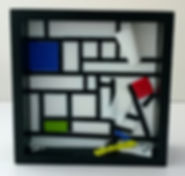 tack fused artglass sculpture geometric mondrian
