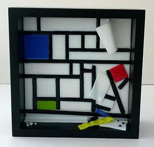 tack fused artglass sculpture geometric mondrian