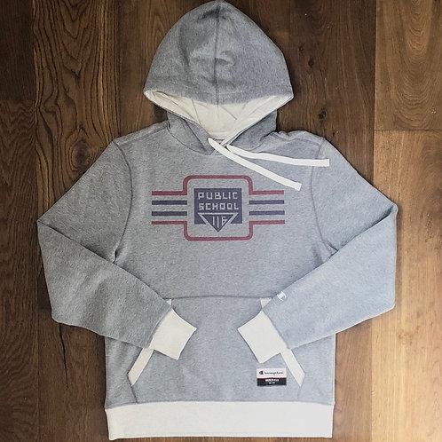 Lindley Vintage Suede Fleece (Grey)  Champion Pull Over Hoodie - Adult Unisex