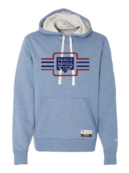 Lindley Vintage Suede Fleece (Blue) Champion Pull Over Hoodie - Adult Unisex