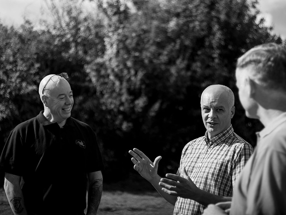 Nigel Bromage and colleagues from Small Steps Consultants discussing outdoors