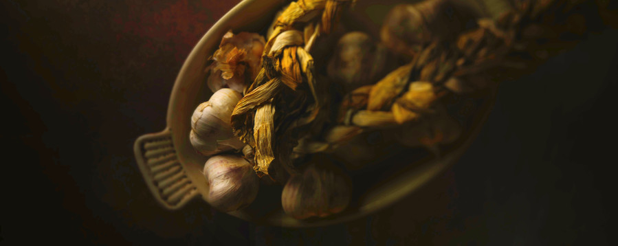 Still-life photography Garlic braid