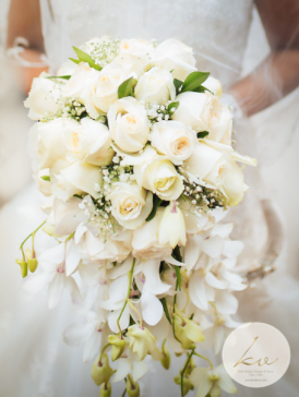 A white bridal bouquet