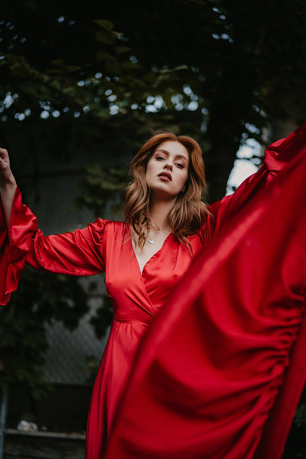 Sarah peddle, jessie snair photography, halifax novia scotia, halifax model, halifax photographer, haute features, feature site, calgary ablerta, red dress, red head model,