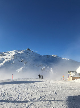 View to the Weissfluh Gipfel. Come and improve your skiing and snowboarding with one of our experienced and fun instructors.