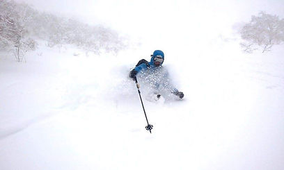 Rasmus Hauskov, private ski instructor for Ben&Joe's, private ski and snowboard lessons enjoying some very fresh powder. He is very passionate about skiing and teaching you. Book Rasmus for a private ski lesson you will love it!