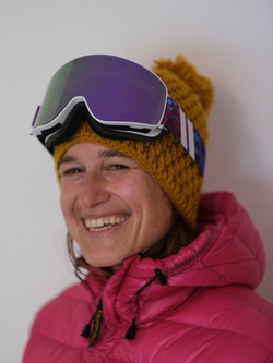 Martina, ski, snowboard and yoga instructor in the Davos-Klosters Mountains.