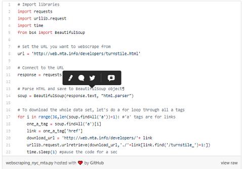 Mã quét web bằng Python dữ liệu quay vòng NY MTA