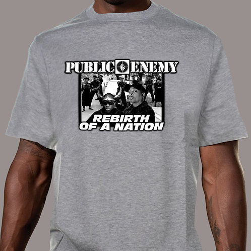 Public Enemy - Rebirth of a Nation (With S1Ws) Grey T-Shirt