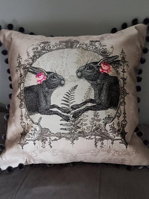 Light Grey faux Velvet Hare Cushion with pom poms