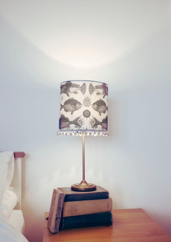 Ugly Fish linen Lampshade with pom pom