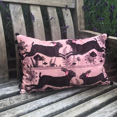 Pink Running Hares velvet Cushion