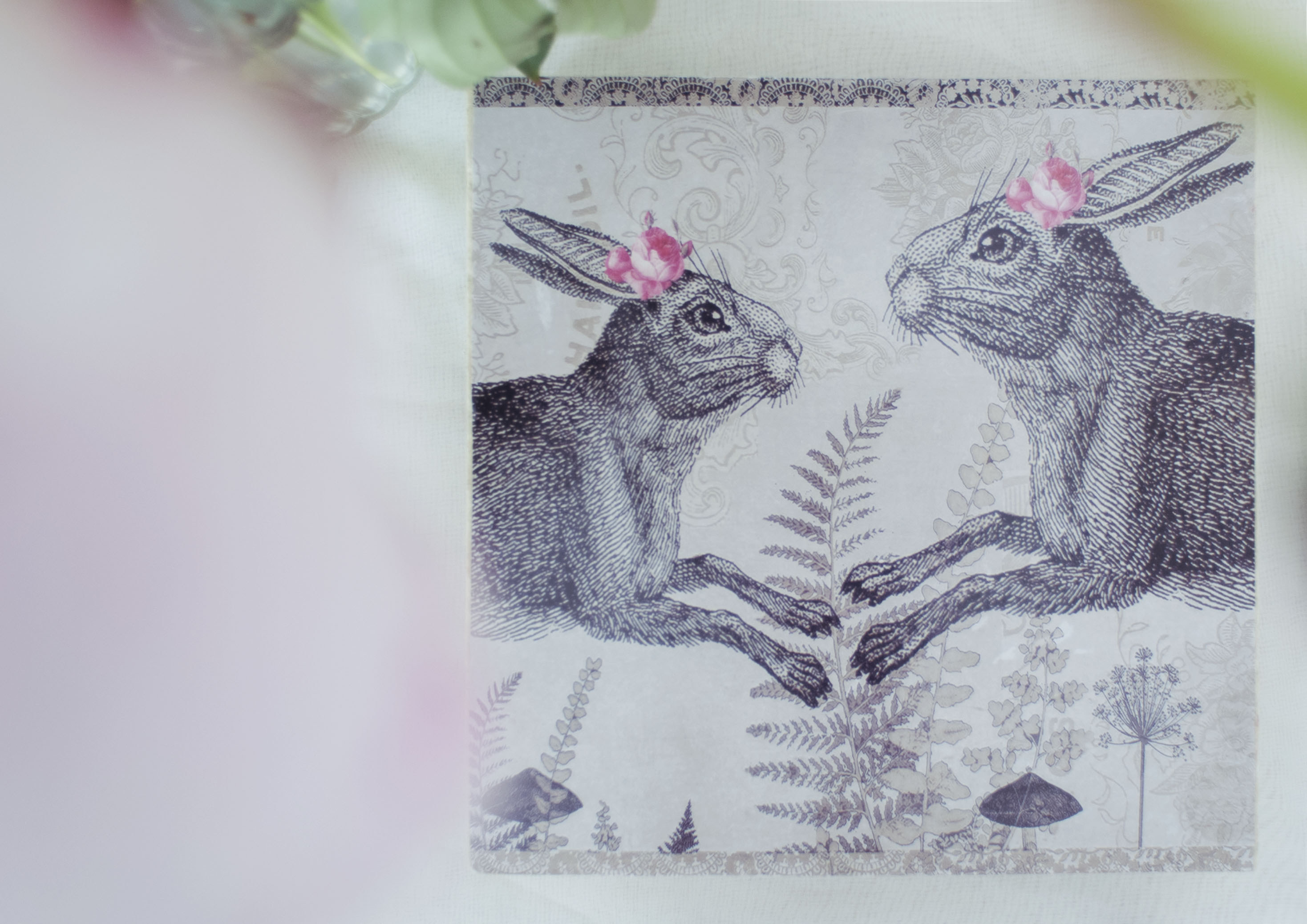 Grey Hares with Roses Trivet