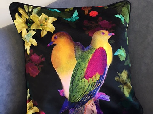 Black Paradiso Faux Velvet Cushion
