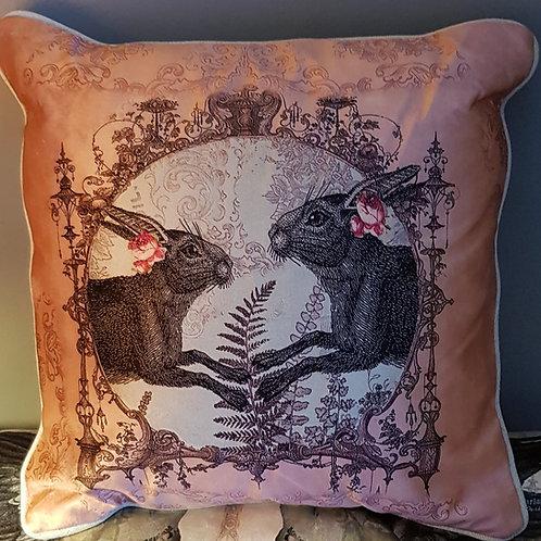 Terracotta Hares velvet and linen