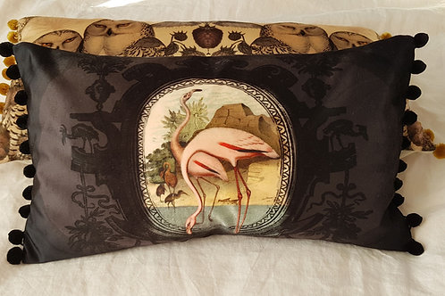 Black Flamingo velvet and linen cushion