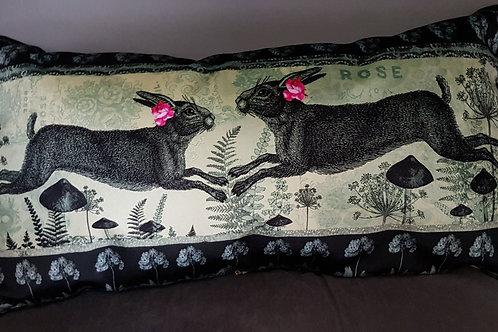 Pistachio faux velvet and linen Cushion