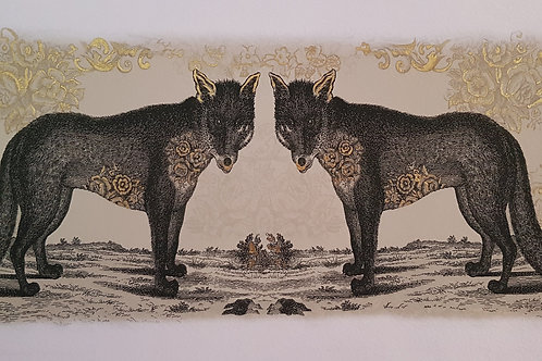 Wolf Limited edition Giclee Print with Gold Detail