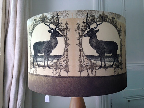 Taupe Faux Silk Stags Lampshade