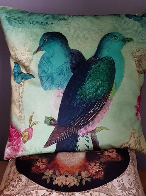 Blue paradiso velvet and linen cushion