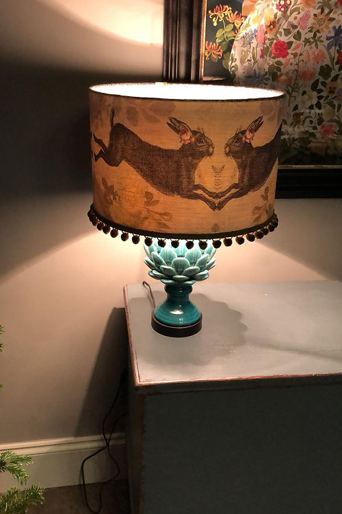 Grey Linen hare with Pom poms Lampshade