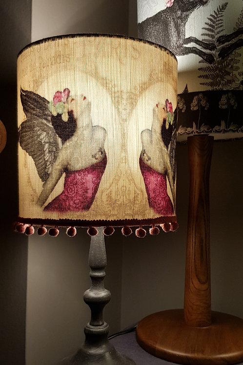 Parisian tatooed Angel linen lampshade with base