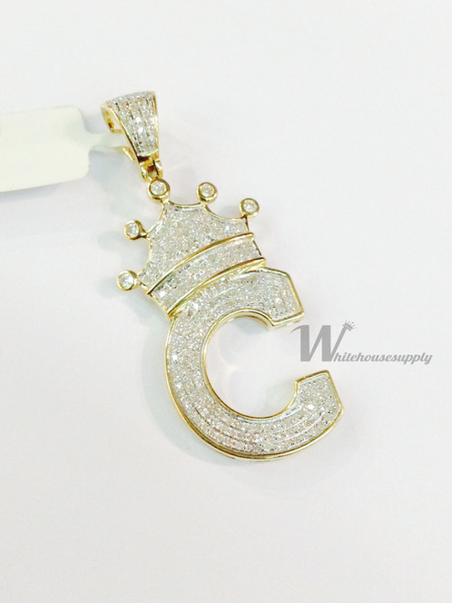 Diamond letter pendant with crown c aloadofball Images