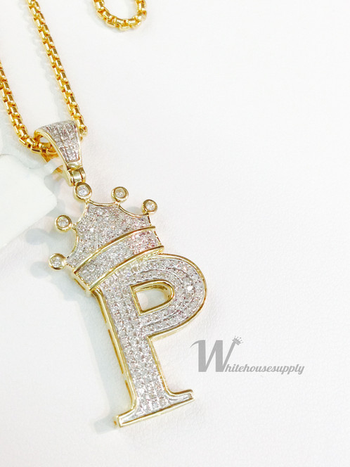 Diamond letter pendant with crown and italian chain p diamond letter pendant with crown and italian chain p mozeypictures Image collections