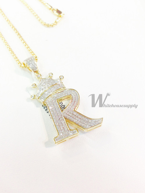 Diamond letter pendant with crown and italian chain r diamond letter pendant with crown and italian chain r aloadofball Choice Image